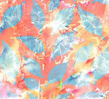 Whimsical Watercolor Leaves in Blue and Orange by Blkstrawberry