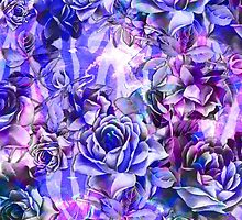 Pink, Purple, and Blue Watercolor Roses by Blkstrawberry