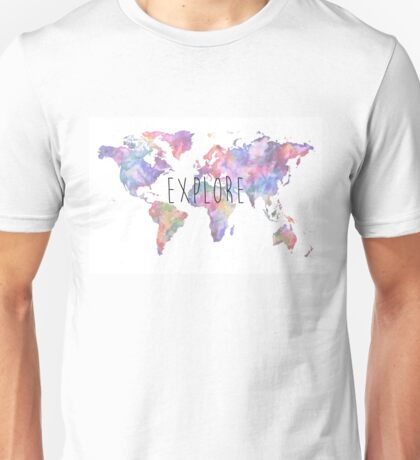 World Map Watercolour Explore Unisex T-Shirt