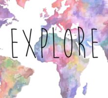 World Map Watercolour Explore Sticker