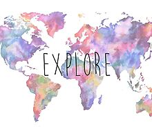 World Map Watercolour Explore by rosewelldesigns