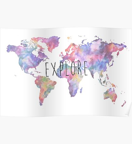 World Map Watercolour Explore Poster