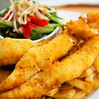 beer battered fish and chips with vegetables by Leonardo Tarjadi