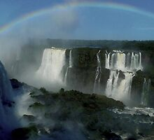 rainbow over Iguassu Falls by supergold