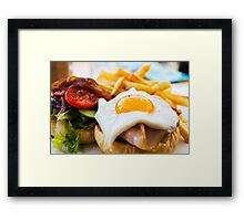 beef wagyu burger with bacon, ham, egg, chips and vegetables Framed Print