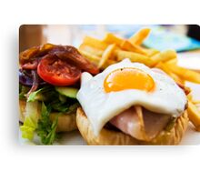 beef wagyu burger with bacon, ham, egg, chips and vegetables Canvas Print
