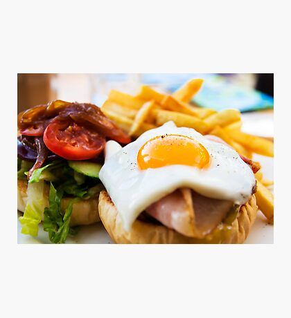 beef wagyu burger with bacon, ham, egg, chips and vegetables Photographic Print