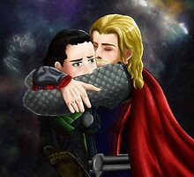 who needs a hug- thor/loki by merakieros
