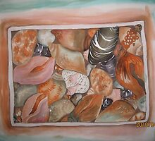 assorted.....pebbles, seashells and such. by Husna Rafath