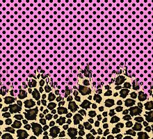 Pink Black Polka Dots and Classic Leopard Print by Blkstrawberry