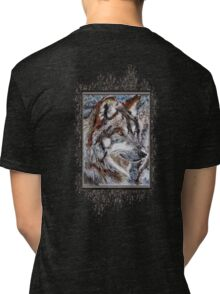 Gray Wolf Watches and Waits Tri-blend T-Shirt