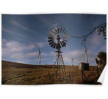 wind farm verses wind mill Poster