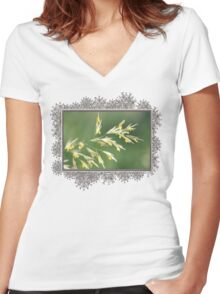Flowering Brome Grass Women's Fitted V-Neck T-Shirt