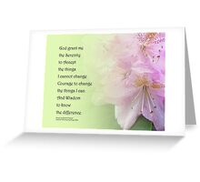 Serenity Prayer Pink Rhododendrons Greeting Card