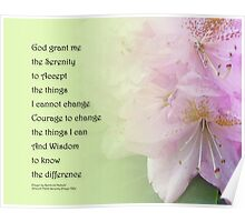 Serenity Prayer Pink Rhododendrons Poster
