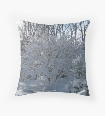 Ornamental Tree Bathed In Fresh Snow Throw Pillow