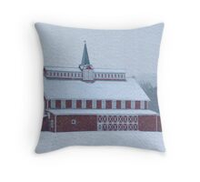 Red Barn in Snowstorm Throw Pillow