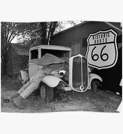 Broken down at Seligman on Route 66 Poster