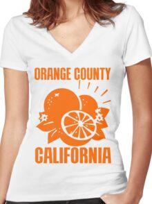 ORANGE COUNTY, CALIFORNIA Women's Fitted V-Neck T-Shirt