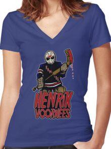 Henrik Voorhees...killin' it in goal Women's Fitted V-Neck T-Shirt