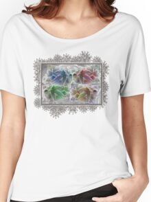 Frosted Maple Leaves in Pop Art Colours Women's Relaxed Fit T-Shirt