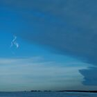 Contrail With Grey Cloud Front by Lisa Diamond