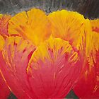 Red Tulips Three - Acrylic palete knife closeup of red tulips by TedReeder