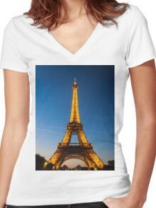 Eiffel Tower and sunset Women's Fitted V-Neck T-Shirt
