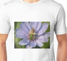 Green Metalic Bee and A Wee Friend on Chickory Flower Unisex T-Shirt