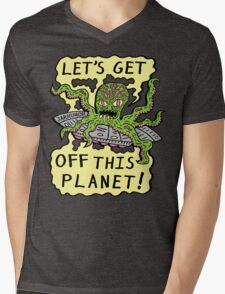 Alien UFO Escape Mens V-Neck T-Shirt
