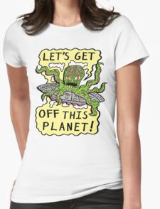 Alien UFO Escape Womens Fitted T-Shirt
