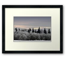 Winter sunrise in frost day  Framed Print