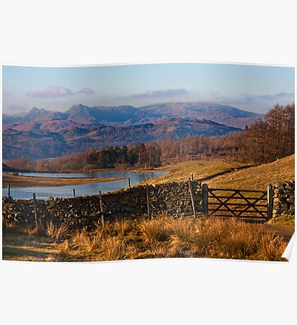 Wise Een tarn and the Langdale Pikes Poster