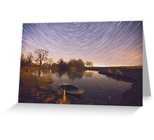 Boat Pond Startrails Greeting Card