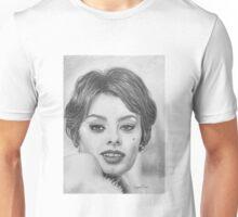 Sophia Loren in Graphite Pencil Unisex T-Shirt
