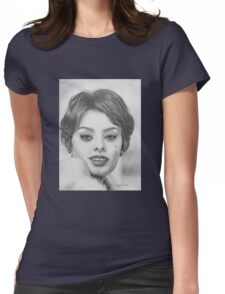 Sophia Loren in Graphite Pencil Womens Fitted T-Shirt