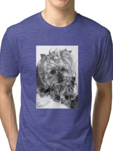 Yorkshire dog in graphite pencil Tri-blend T-Shirt