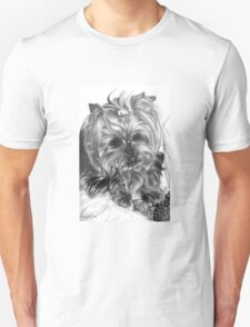 Yorkshire dog in graphite pencil T-Shirt