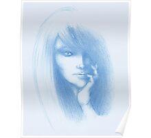 Girl 004 - Blue pencil Poster