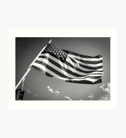 American Flag in Black and White Art Print