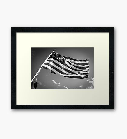 American Flag in Black and White Framed Print