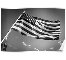 American Flag in Black and White Poster