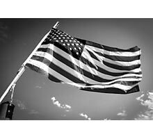 American Flag in Black and White Photographic Print