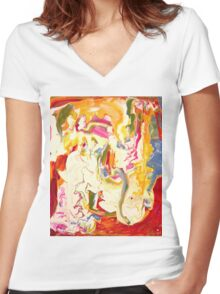 Colorful Psychedelic Art  Women's Fitted V-Neck T-Shirt