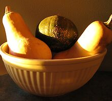 Acorn & Butternut Squash Still Life In Yellow Bowl by Lisa Diamond