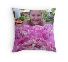 girl with lotus flowers Throw Pillow