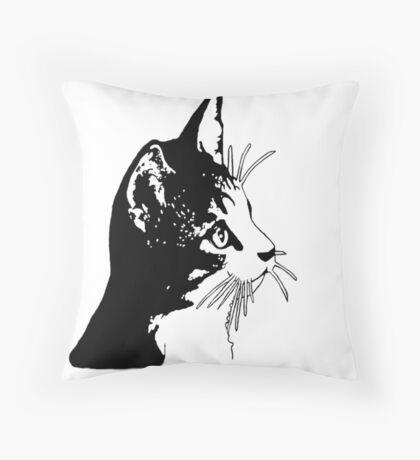 Cute black kitten Throw Pillow