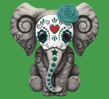 Teal Blue Day of the Dead Sugar Skull Baby Elephant Kids Clothes