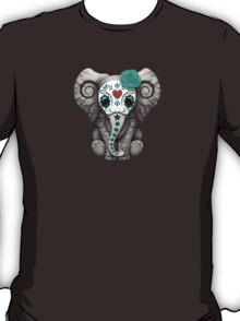 Teal Blue Day of the Dead Sugar Skull Baby Elephant T-Shirt
