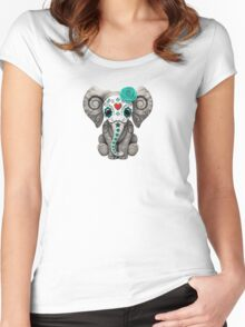 Teal Blue Day of the Dead Sugar Skull Baby Elephant Women's Fitted Scoop T-Shirt